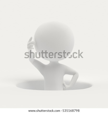 3D rendering of person who is at a loss as it fits into a hole