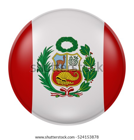 3d rendering of Peru flag on a button