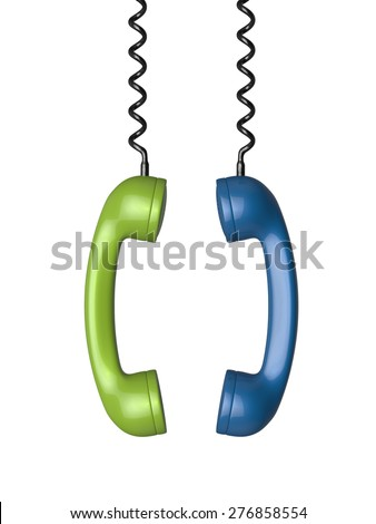 3d rendering of phone receivers hanging isolated on white background - stock photo