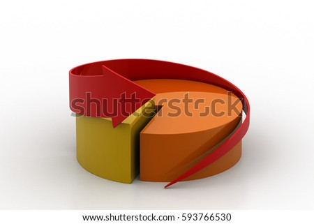 3d rendering of Pie chart with arrow