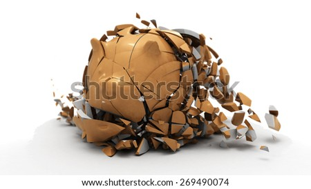 3D rendering of piggy bank collapses after down slow motion simulation on white background - stock photo