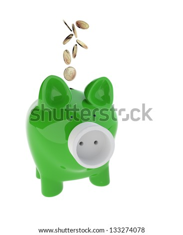 3d rendering of Piggy with Electric Plug. Energy saveing Concept - stock photo
