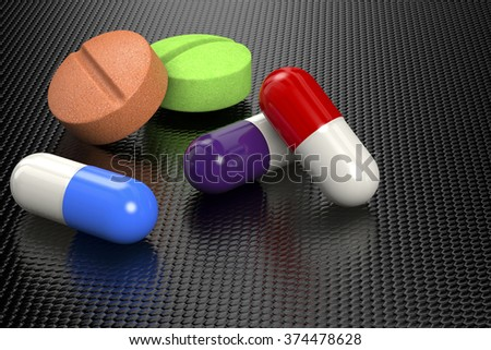 3D rendering of pills and capsules - stock photo