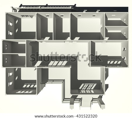 3D rendering of plan  modern house with empty rooms with windows and doors. - stock photo