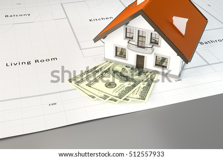3d rendering of planning to build a house with money
