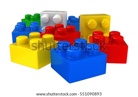 3d rendering of plastic building blocks isolated over white background