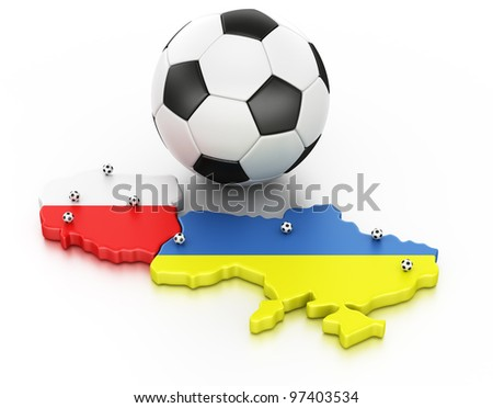 3d rendering of Poland and Ukraine, the hosts of Euro 2012. Locations of the stadiums marked out with small balls - stock photo
