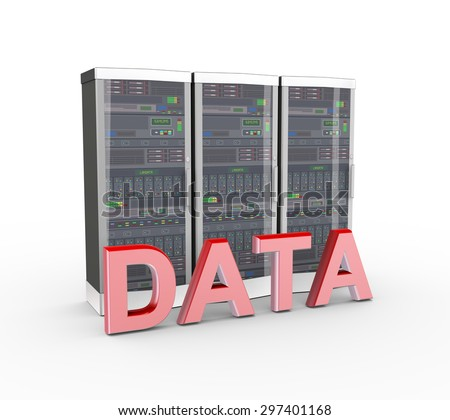3d rendering of powerful computer network servers system machine and word text data - stock photo