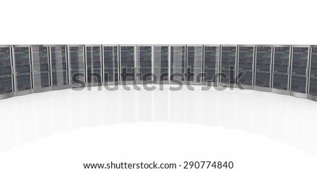 3d rendering of powerful computer networking servers in datacenter - stock photo