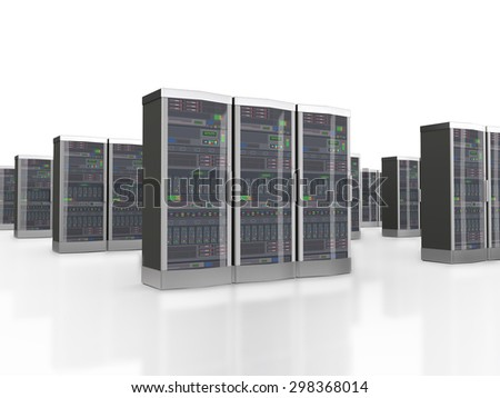 3d rendering of powerful computer set of networking data servers in datacenter - stock photo
