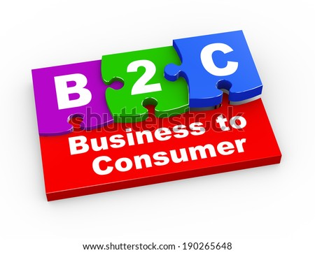 3d rendering of puzzle pieces presentation of b2c - business to consumer - stock photo