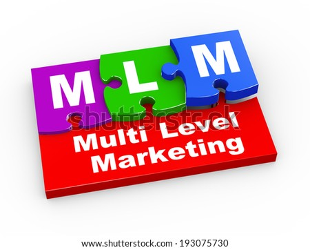 3d rendering of puzzle pieces presentation of  mlm - Multi Level Marketing - stock photo
