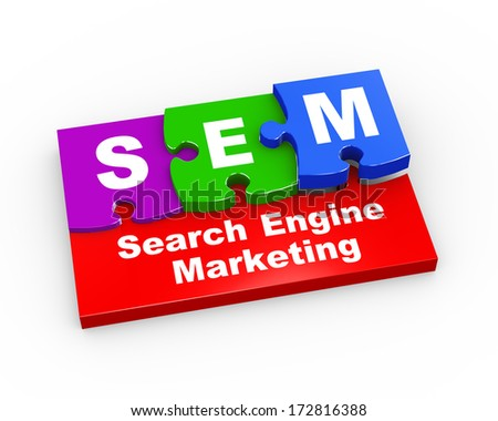 3d rendering of puzzle pieces presentation of  sem -  search engine marketing  - stock photo