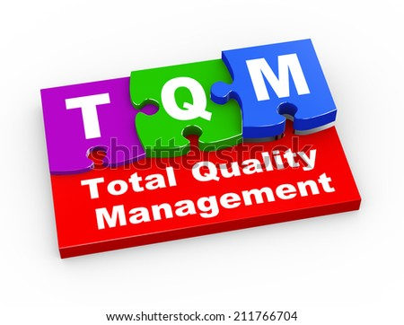 3d rendering of puzzle pieces presentation of tqm  - total quality management