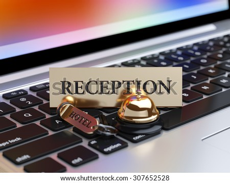 3d rendering of reception bell and room access key on the laptop keyboard with soft focus. Booking concept - stock photo