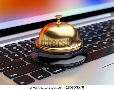 3d rendering of reception bell on the laptop keyboard with soft focus. Service concept - stock photo