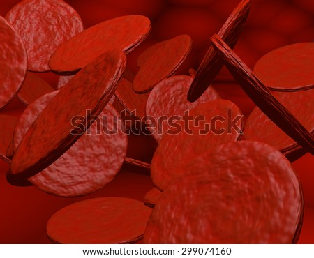 3D-Rendering of red Bloodcells - stock photo