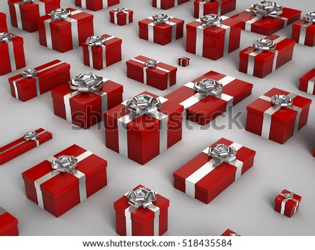 3d rendering of red christmas gif box on white background