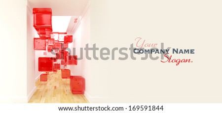 3D rendering of red cubes floating in mid air in the middle of a corridor - stock photo