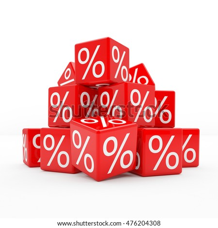 3d rendering of red cubes with percent signs on white background (sale concept).
