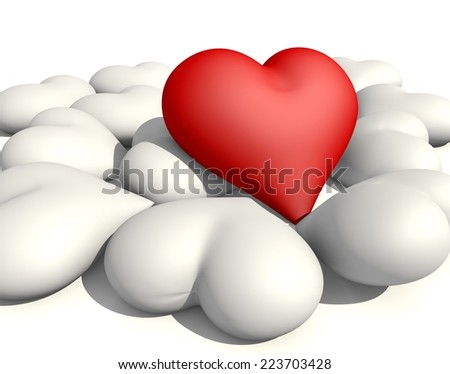 3d rendering of red heart among white hearts - stock photo