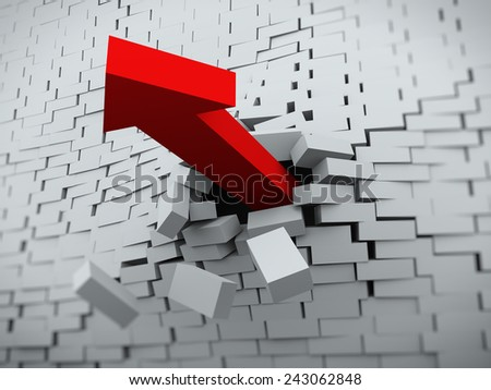 3d rendering of red powerful arrow burst breaking through brick wall - stock photo
