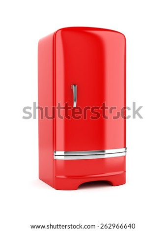 3d rendering of red refrigerator, isolated on white background - stock photo