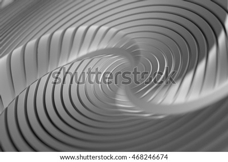 3d rendering of reflective spiral surface