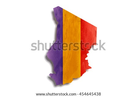 3d rendering of Republic of Chad map and flag on white background.