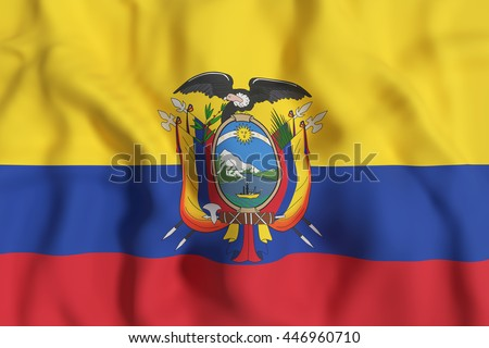 3d rendering of Republic of Ecuador flag waving