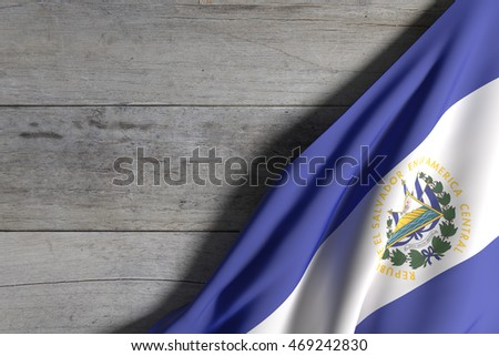 3d rendering of Republic of El Salvador flag on a wood