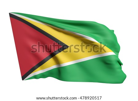 3d rendering of Republic of Guyana flag waving on white background