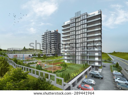 3D Rendering Of Residences. - stock photo