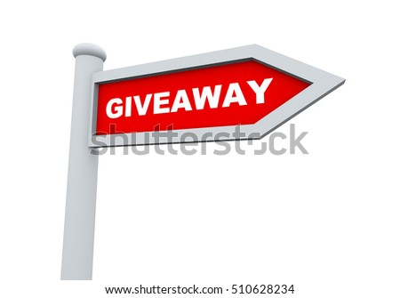 3d rendering of road sign of giveaway promotional offer