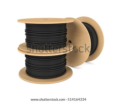 3d Rendering Of Roll Black Industrial Underground Cable On Large Wooden Reel Isolated A