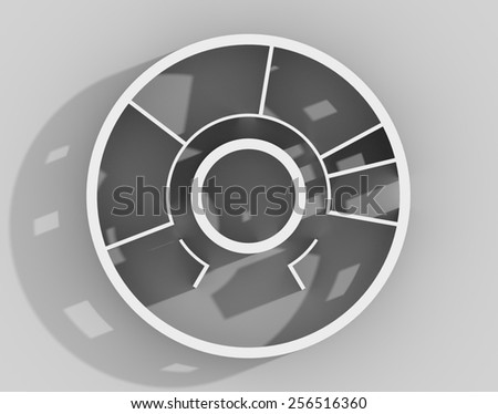 3D rendering of rounded apartment interior roofless - stock photo