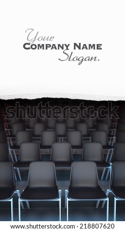 3D rendering of rows of black chairs - stock photo
