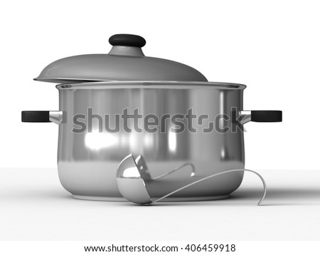 3d rendering of saucepans and ladle on white background - stock photo