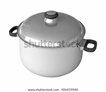 3d rendering of saucepans isolated on white background - stock photo