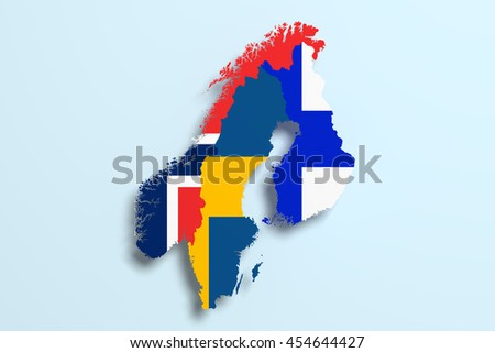 3d rendering of Scandinavian peninsula map and flags