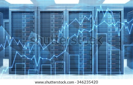 3D rendering of server for data storage, processing and analysis, rows of machines at work, front view, with a hologram of graphs in front - stock photo