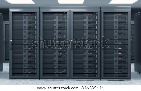 3D rendering of server for data storage, processing and analysis, rows of machines at work, front view, close - stock photo