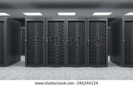 3D rendering of server for data storage, processing and analysis, rows of machines at work, front view