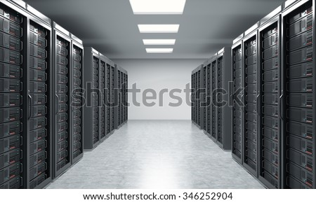 3D rendering of server for data storage, processing and analysis, two rows of machines at work