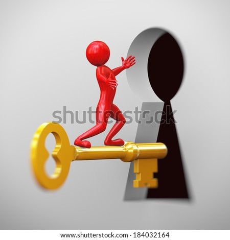 3d rendering of shiny red man on golden key passing through large keyhole. 3d people man character. - stock photo