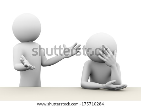 3d rendering of shouting man arguing with sad upset person. Concept of family problems, conflict, dispute. 3d white people man character - stock photo
