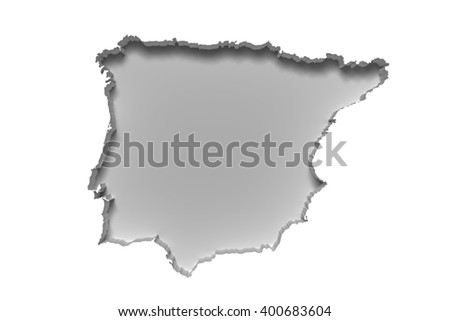 3d rendering of silhouette of white Iberian Peninsula map in white wall - stock photo
