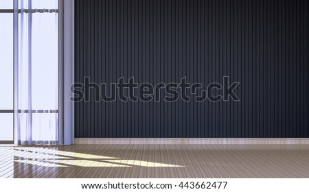 3D rendering of Simple empty  room interior with painted wooden floorboards and wall.