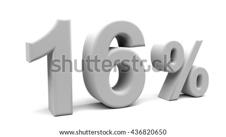 3D rendering of sixteen percents text, with big fonts isolated on white background.