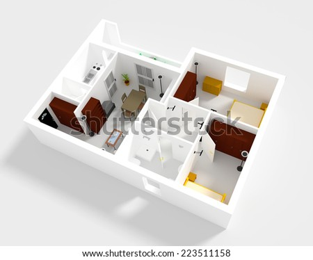 3d rendering of small flat with walls and furniture - stock photo